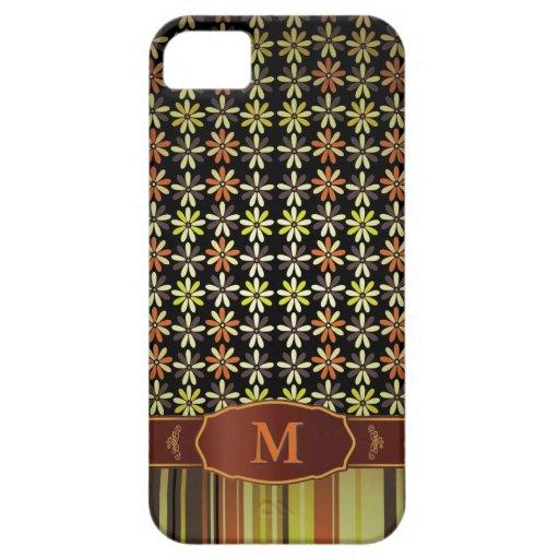 iPhone retro 5 del monograma de la raya de la flor iPhone 5 Case-Mate Carcasas