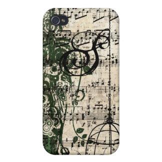 iPhone retro de los remolinos del damasco del mono iPhone 4 Cárcasas