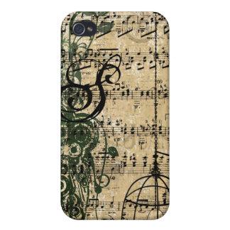 iPhone retro de los remolinos del damasco del mono iPhone 4 Cárcasa