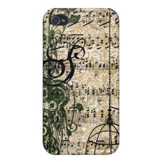 iPhone retro de los remolinos del damasco del mono iPhone 4 Fundas