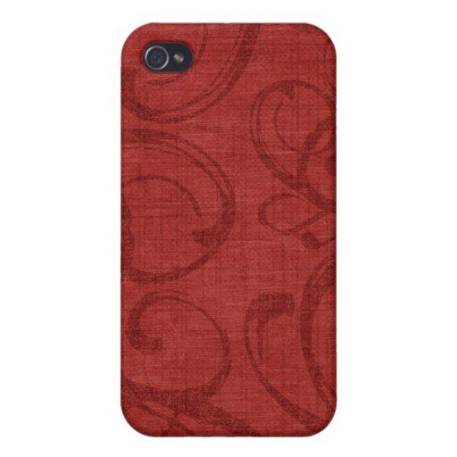 iPhone rojo 4 de la caja de la mota del Victorian  iPhone 4/4S Fundas