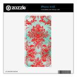 Iphone rojo del damasco de la turquesa del vintage calcomanías para iPhone 4
