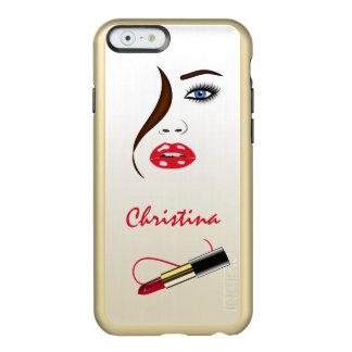 iPhone rojo del oro del beso del lápiz labial de Funda Para iPhone 6 Plus Incipio Feather Shine