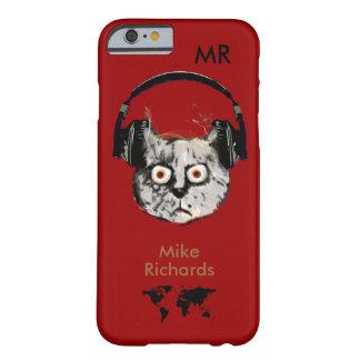 iPhone rojo personalizado 6 con el gato de DJ Funda Para iPhone 6 Barely There