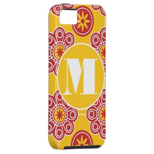 iPhone rojo y amarillo moderno 5 del monograma de Funda Para iPhone 5 Tough