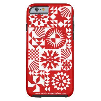 iPhone rojo y blanco 6 del edredón - frontera roja Funda De iPhone 6 Tough