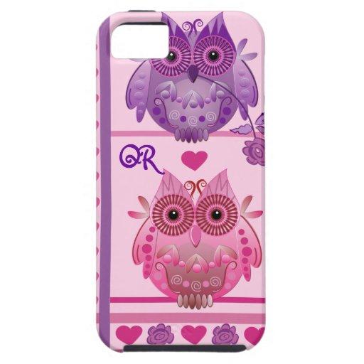 iPhone romántico 5 búhos del caso en amor y monogr iPhone 5 Carcasas