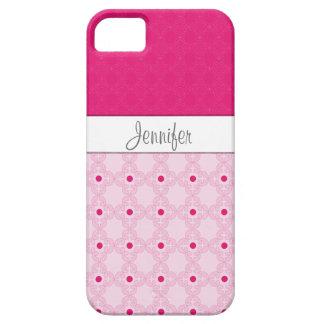 iPhone rosado 5 del monograma del modelo del damas iPhone 5 Case-Mate Protectores