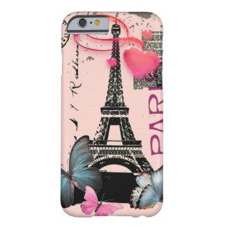 iPhone rosado 6 de la mariposa de París Funda Para iPhone 6 Barely There