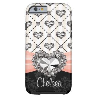 iPhone rosado 6 del corazón del diamante