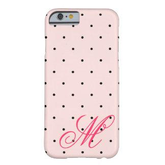 iPhone rosado bonito del monograma de los lunares Funda De iPhone 6 Barely There