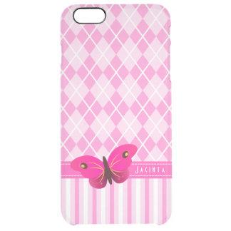 iPhone rosado de la mariposa de Argyle 6 6S más el Funda Clearly™ Deflector Para iPhone 6 Plus De Unc