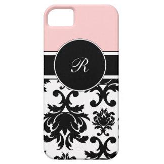 iPhone rosado del monograma 5 casos fijados