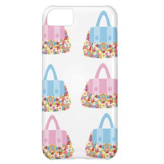 iphone rosado y azul 5case del bolso de la flor