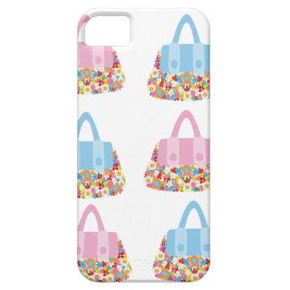 iphone rosado y azul 5case del bolso de la flor iPhone 5 Case-Mate cárcasas