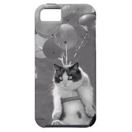 iPhone SE/5/5s Case: Cat flying with Balloons iPhone SE/5/5s Case