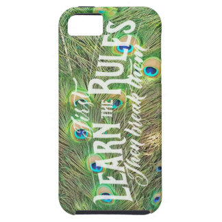 iPhone SE/5 case with pic of peacock tail & saying