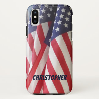 iPhone X Case, American Flags, Personalized Name iPhone X Case