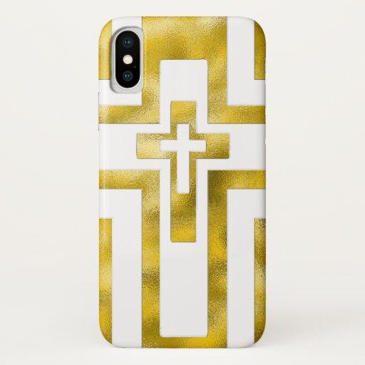 Iphone X Case Molten Gold Cross
