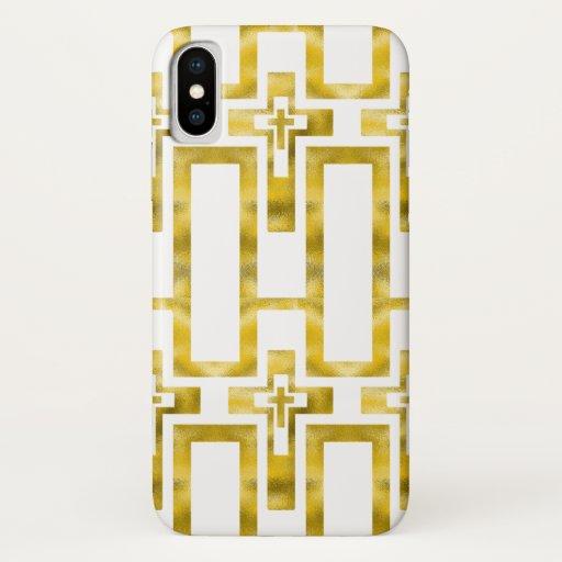 Iphone X Case Molten Gold Crosses