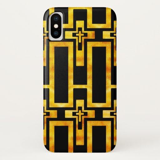 Iphone X Case Molten Gold Crosses Black