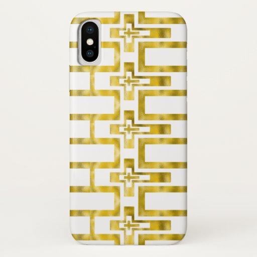 Iphone X Case Molten Gold Crosses Horizontal