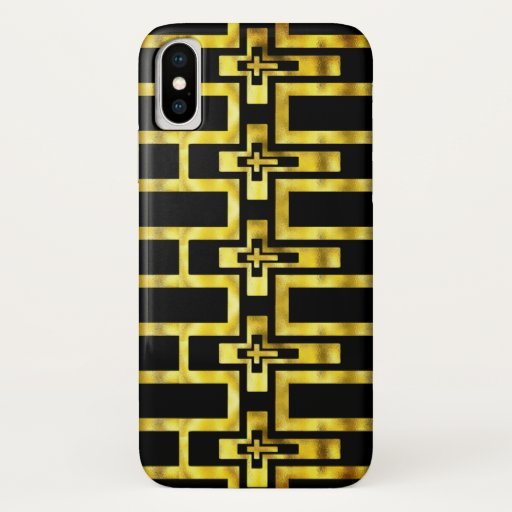 Iphone X Case Molten Gold Crosses Horizontal c
