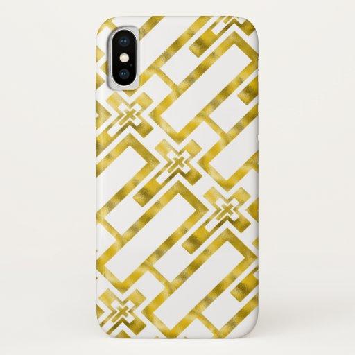 Iphone X Case Molten Gold Crosses  Oblique