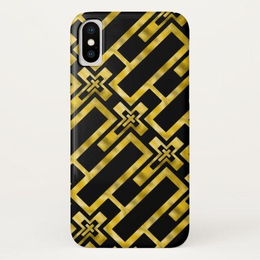 Iphone X Case Molten Gold Crosses  Oblique Black
