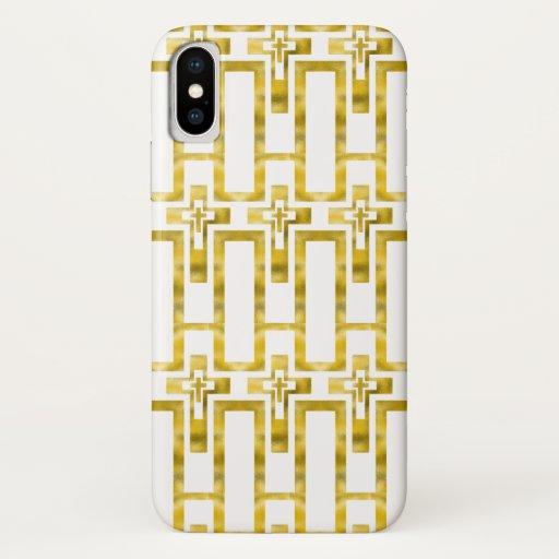 Iphone X Case Molten Gold Crosses Vertical
