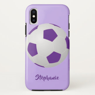 iPhone X Case, Soccer Ball, Purple, Personalized iPhone X Case