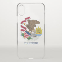 iPhone X deflector case with flag of Illinois, USA