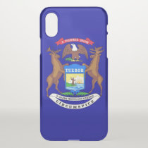 iPhone X deflector case with flag of Michigan