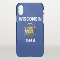 iPhone X deflector case with flag Wisconsin