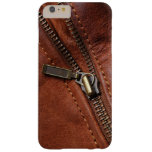 iPhone: Zipper of Brown Leather Biker Jacket Barely There iPhone 6 Plus Case