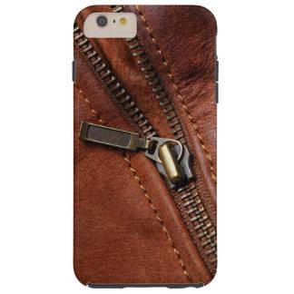 iPhone: Zipper of Brown Leather Biker Jacket Tough iPhone 6 Plus Case