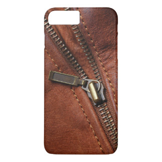 iPhone: Zipper of Brown Leather Biker Jacket iPhone 7 Plus Case