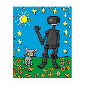 iphoneman and his cat postcard