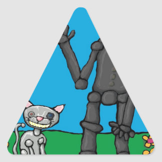 iphoneman and his cat triangle sticker