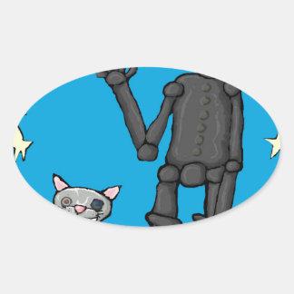 iphoneman y su gato pegatina ovalada