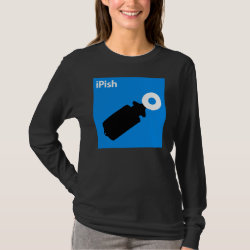 Women's Basic Long Sleeve T-Shirt with iPish Blue design