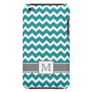 iPod Custom Monogram Grey Teal Chevrons iPod Touch Covers