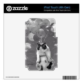 iPod Touch 4G Skin: Funny cat flying with Balloons iPod Touch 4G Skin