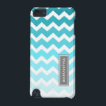 "iPod Touch 5g Blue Ombre Chevron Custom Name iPod Touch (5th Generation) Case<br><div class=""desc"">Customizable iPod Touch 5g case in elegant and modern bright teal turquoise blue,  gray and white fun and retro chevrons zigzags stripes vintage pattern . Personalize this case with your name or other text for a truly unique phone case. Contact us for a custom color.</div>"