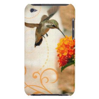 iPod Touch Case Peach Flower Hummingbird