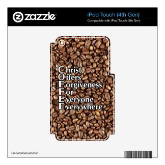 iPod Touch Skin COFFEE beans Christ Offers Forgive