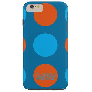 iPone Cover, Polka Dot Design, Blue & Orange Tough iPhone 6 Plus Case
