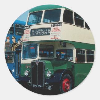 "Ipswich Corp.'s """"Regent"""" double-decker at Southa Classic Round Sticker"