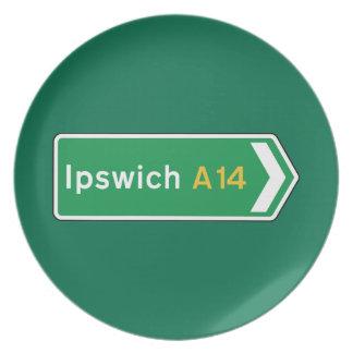 Ipswich señal de tráfico BRITÁNICA Platos De Comidas