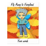 Ir volando al fairyland tarjeta postal